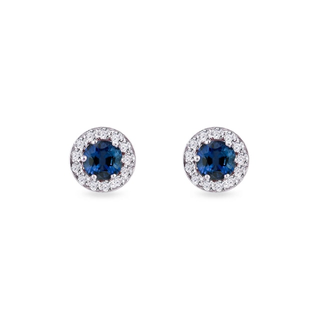 Gold earrings with sapphire stones and diamonds
