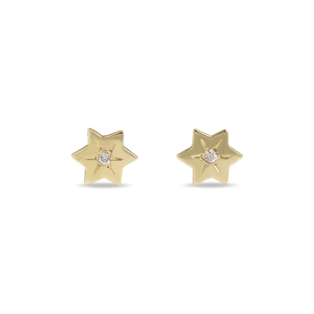 DIAMOND STAR EARRINGS IN 14KT GOLD - YELLOW GOLD EARRINGS - EARRINGS