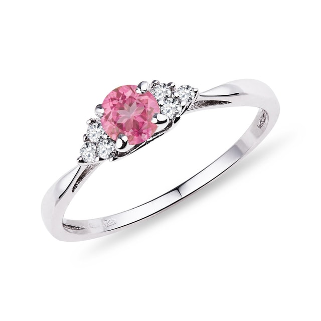 GOLD RING WITH PINK SAPPHIRE AND DIAMONDS - SAPPHIRE RINGS - RINGS