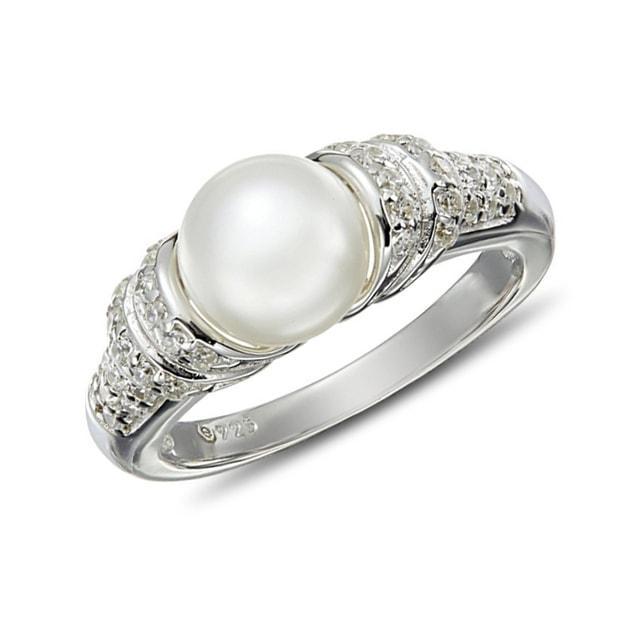 klenota silberring mit perle und zirkonia perlen ringe. Black Bedroom Furniture Sets. Home Design Ideas