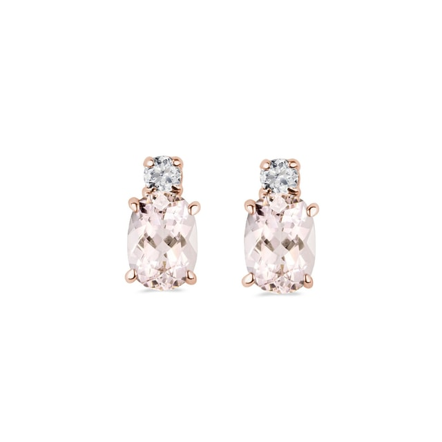 Earrings in rose gold with diamonds and morganite