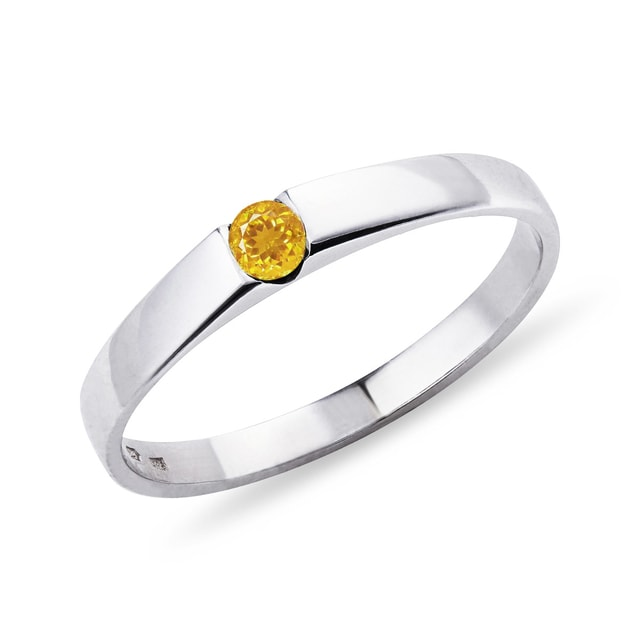 Citrine ring in 14kt white gold