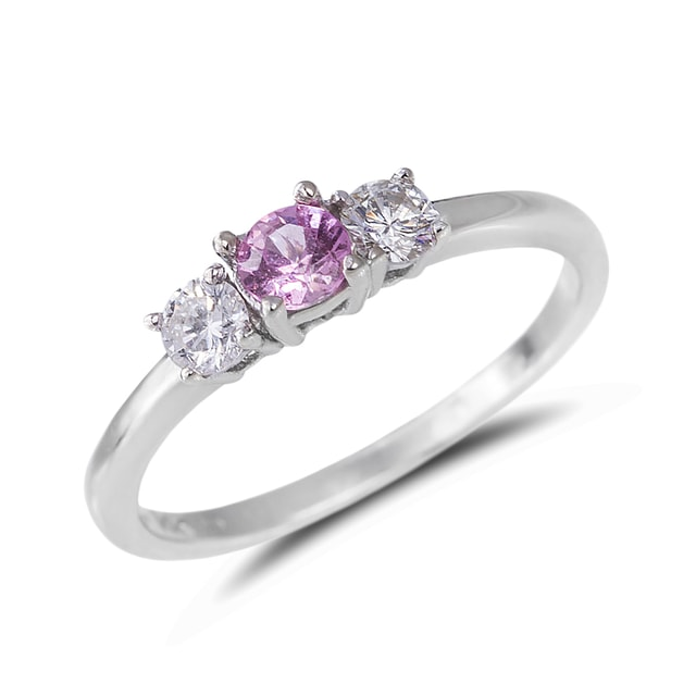 PINK SAPPHIRE AND DIAMOND RING IN 14KT WHITE GOLD - SAPPHIRE RINGS - RINGS