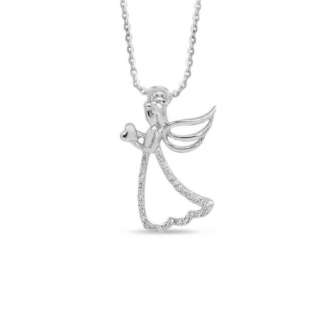 ANGEL PENDANT WITH DIAMONDS IN STERLING SILVER - DIAMOND PENDANTS - PENDANTS