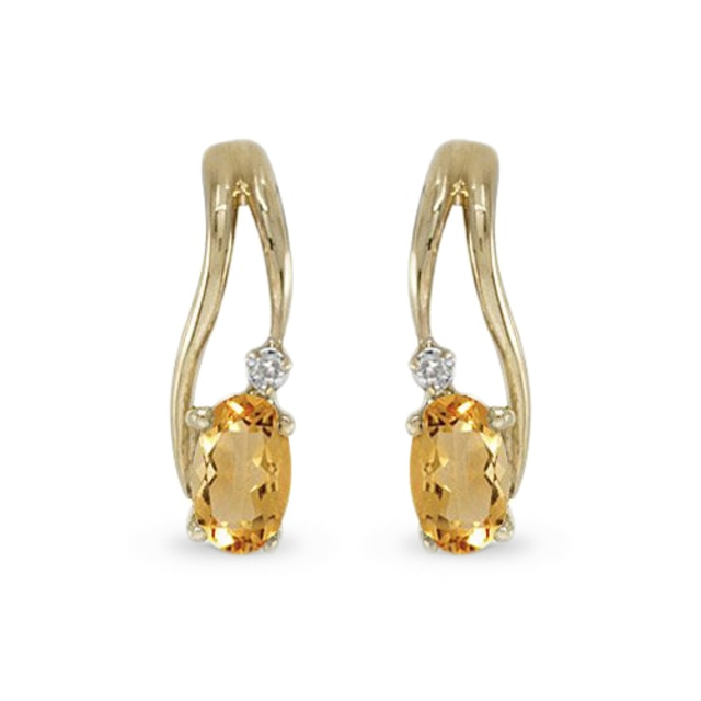Citrine and diamond earrings in 14kt gold