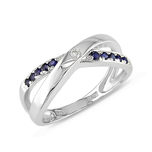 SAPPHIRE AND DIAMOND RING IN 14KT WHITE GOLD - SAPPHIRE RINGS - RINGS