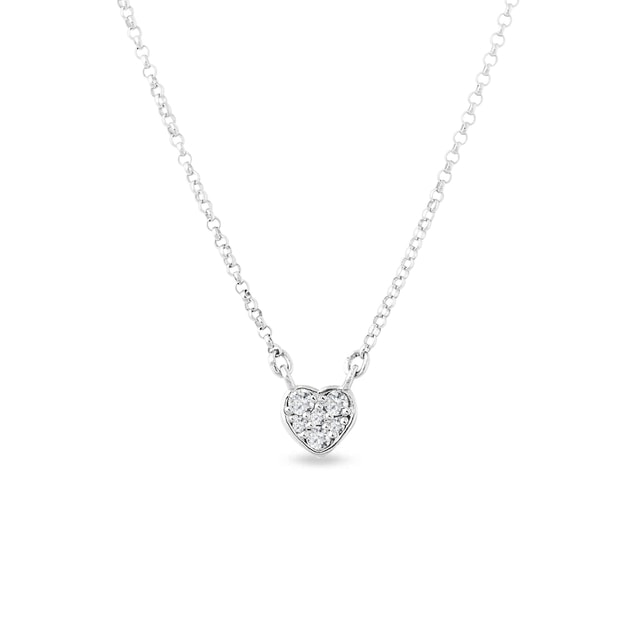 White gold charm with diamond heart