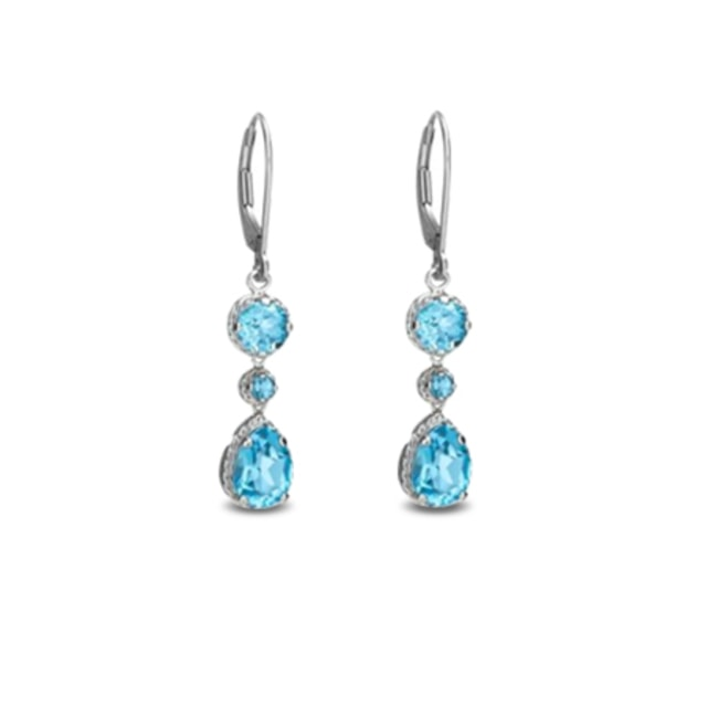 TOPAZ EARRINGS IN 14KT WHITE GOLD - TOPAZ EARRINGS - EARRINGS