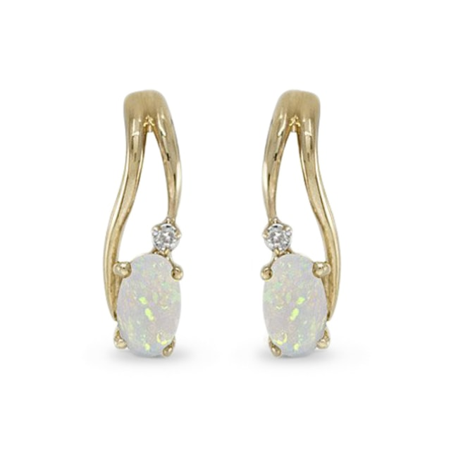 OPAL AND DIAMOND EARRINGS IN 14KT GOLD - GEMSTONES EARRINGS - EARRINGS