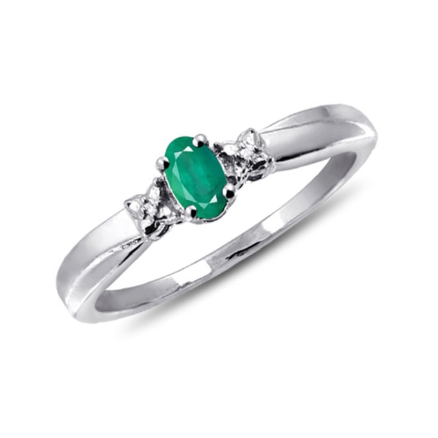 DIAMOND SILVER RING - EMERALD RINGS - RINGS