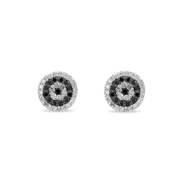 DIAMOND STUD EARRINGS IN 14KT WHITE GOLD - DIAMOND EARRINGS - EARRINGS