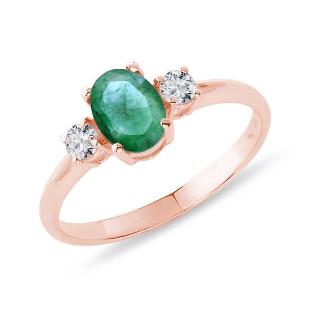 ROSE GOLD RING WITH EMERALD AND DIAMONDS - EMERALD RINGS - RINGS