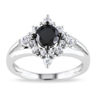 klenota silberring mit schwarzen diamanten und synthetischem saphir ringe diamanten. Black Bedroom Furniture Sets. Home Design Ideas