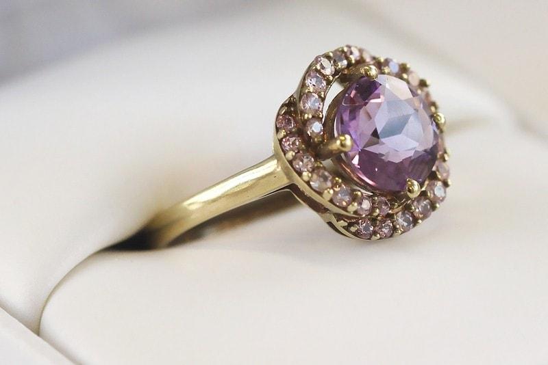 klenota vergoldeter amethyst ring mit rosa saphiren ringe silber. Black Bedroom Furniture Sets. Home Design Ideas