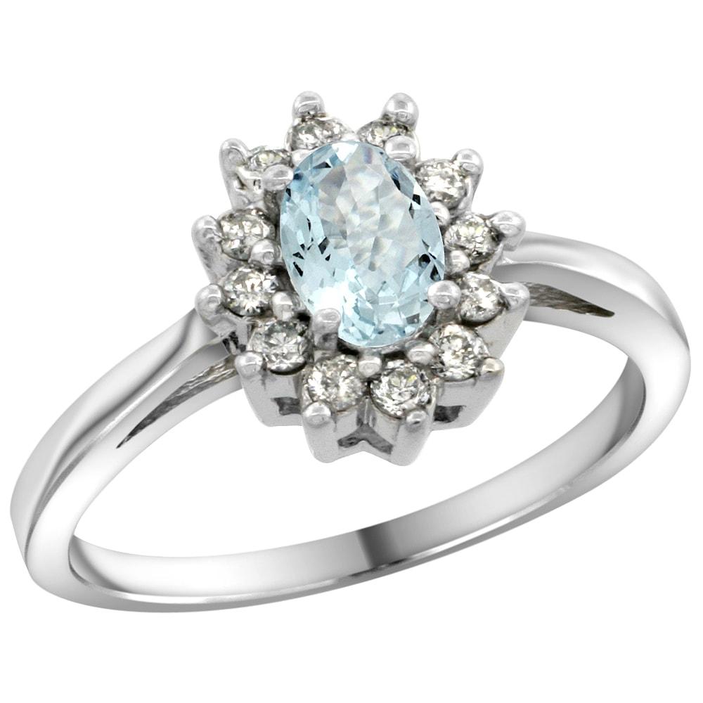 klenota aquamarine ring with diamonds in white gold