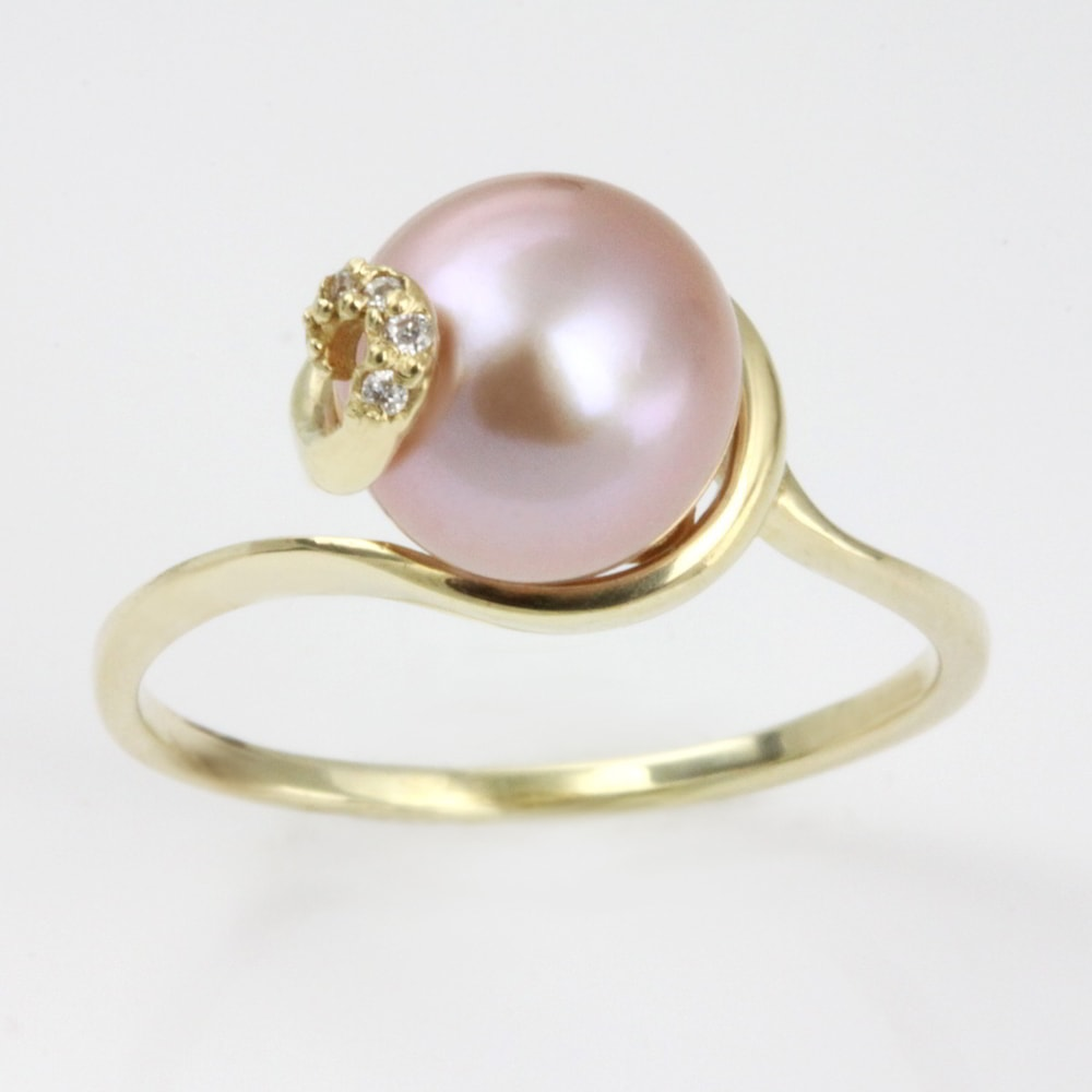 klenota bague en or avec perle rose et diamants bagues en perles bijoux en ligne. Black Bedroom Furniture Sets. Home Design Ideas