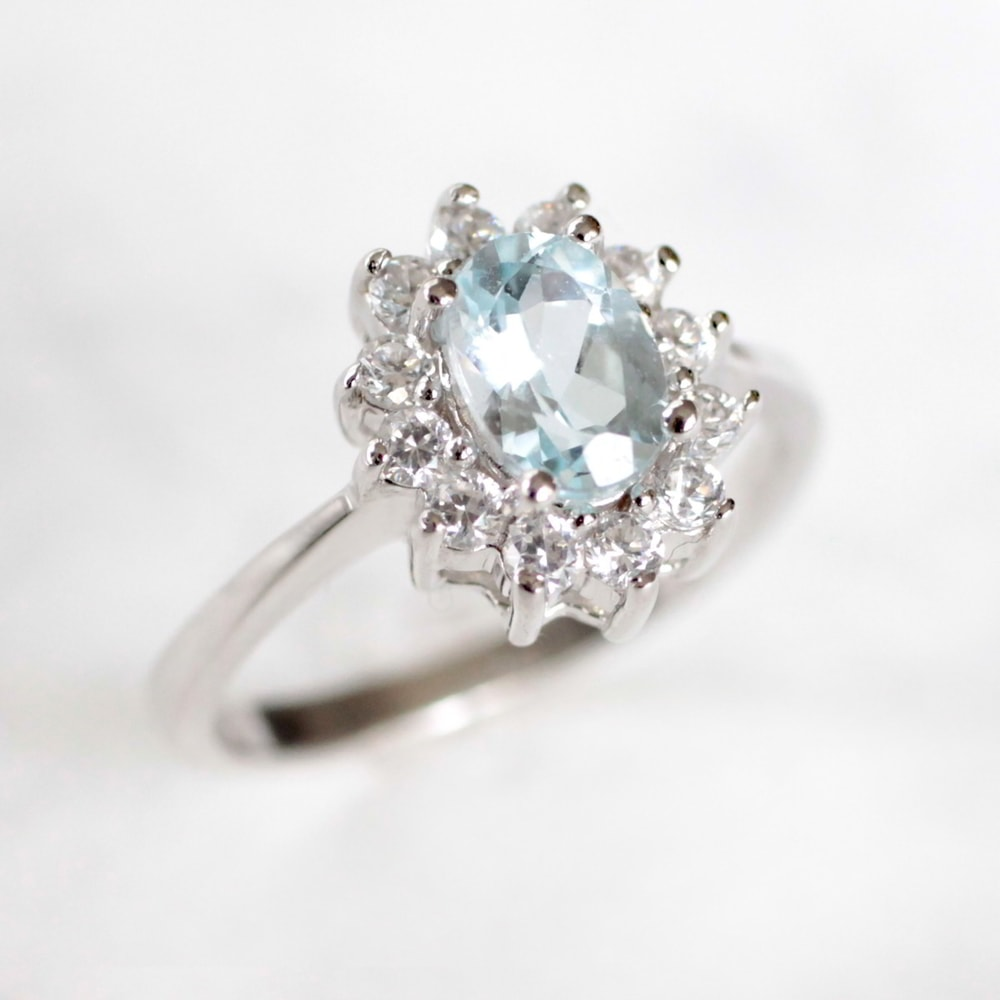 Klenota silver ring with aquamarine and cz halo for Wedding rings aquamarine