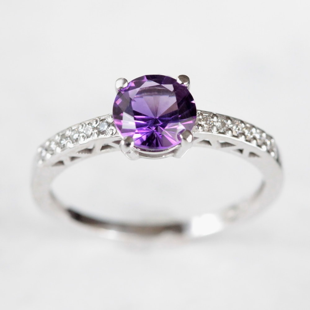 klenota gold ring with amethyst and diamonds z 225 snubn 237