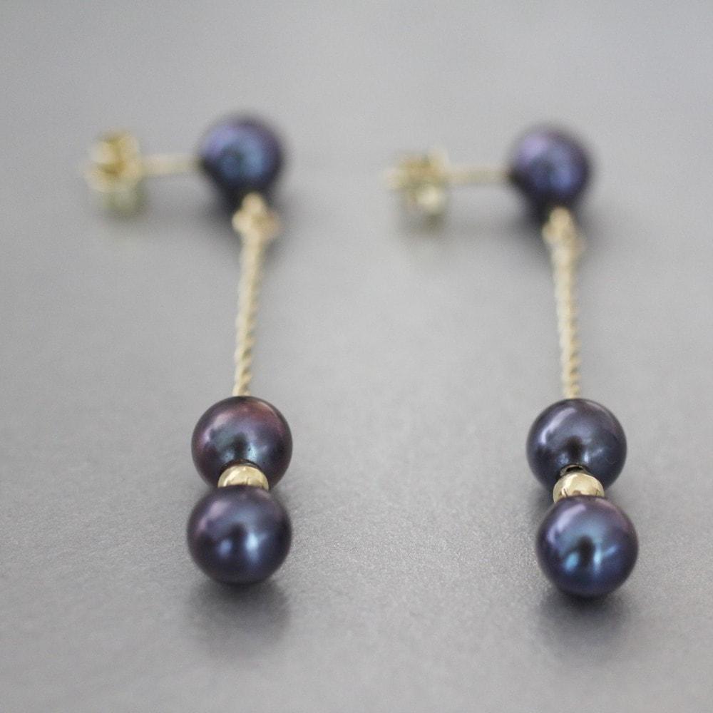 klenota ohrh nger mit schwarzen perlen gold perlen. Black Bedroom Furniture Sets. Home Design Ideas