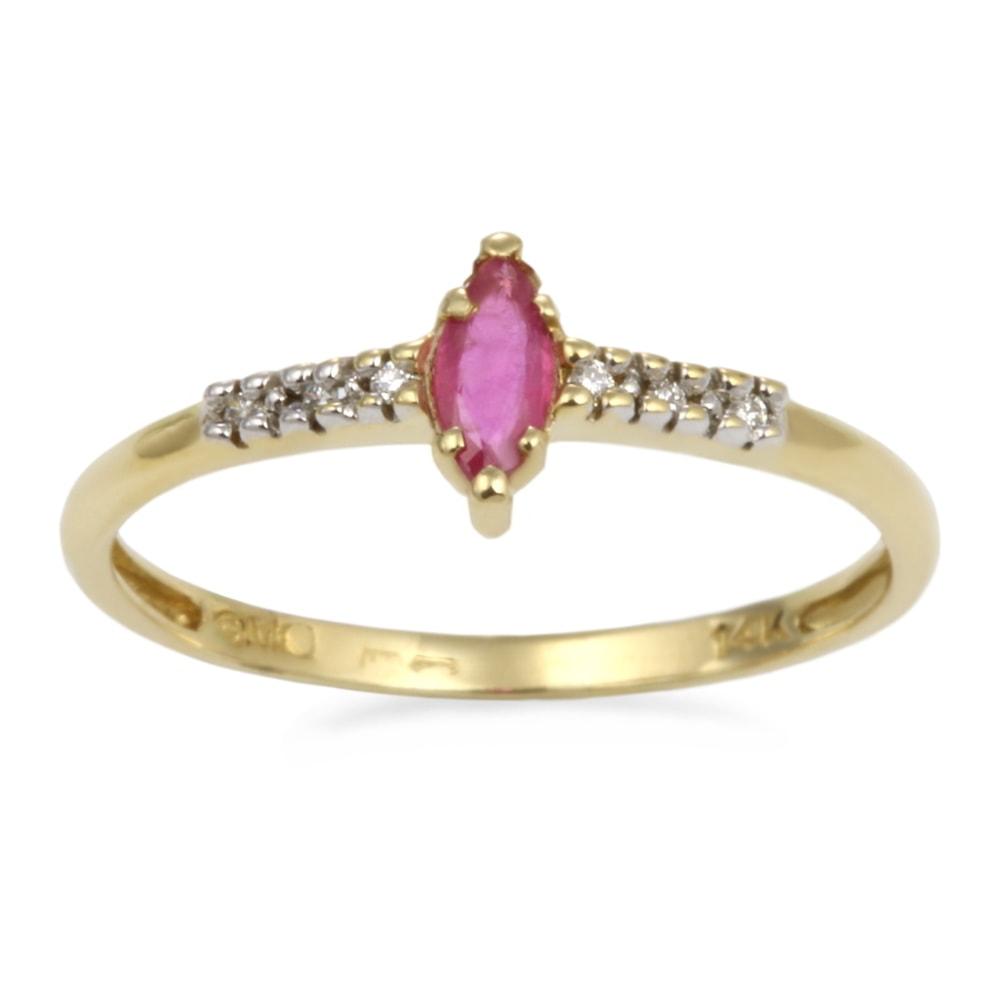 klenota gold ring mit einem rubin und brillanten ringe gelbgold. Black Bedroom Furniture Sets. Home Design Ideas