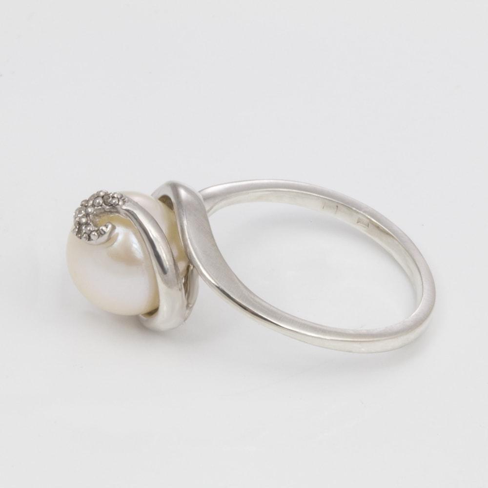 klenota silberring mit perle und diamanten perlen ringe. Black Bedroom Furniture Sets. Home Design Ideas