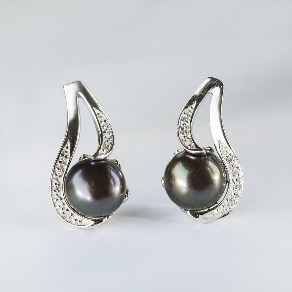 klenota ohrringe mit perlen und diamanten silber perlen ohrringe. Black Bedroom Furniture Sets. Home Design Ideas