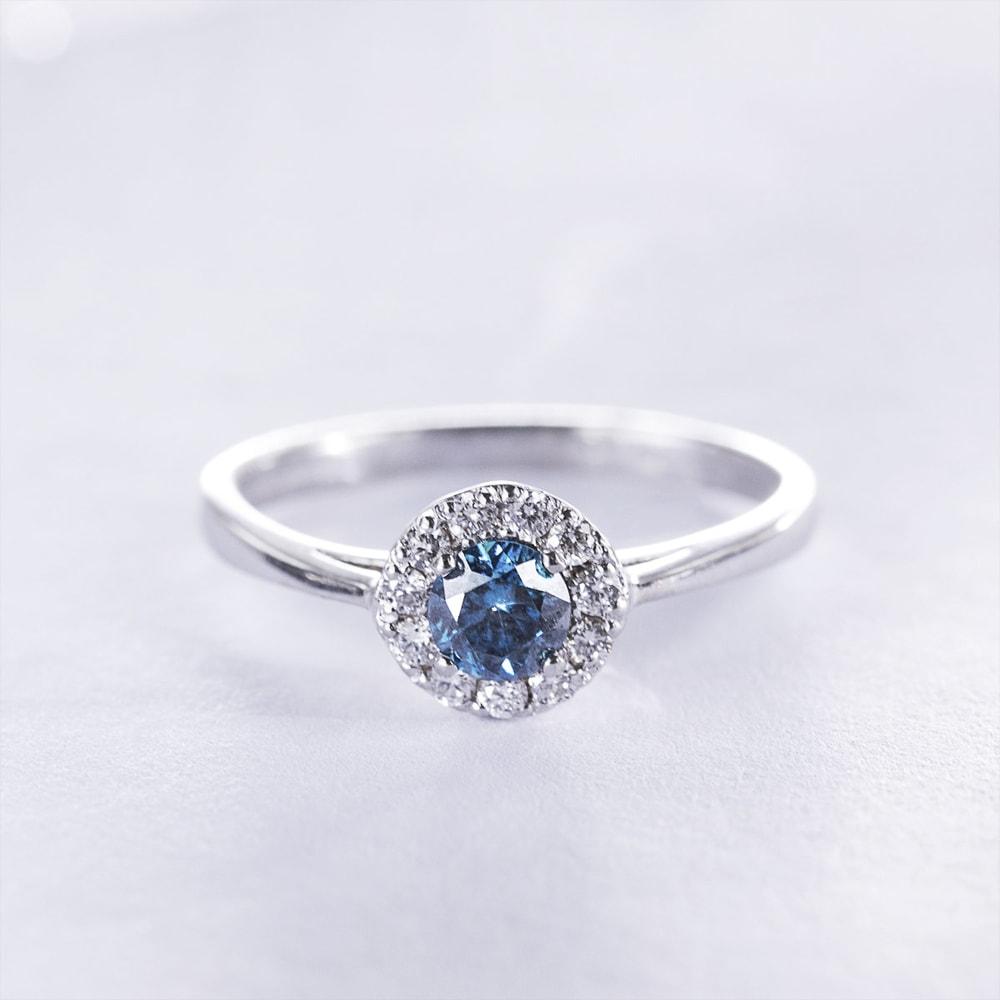 klenota ring mit blauen und wei en diamanten wei gold. Black Bedroom Furniture Sets. Home Design Ideas