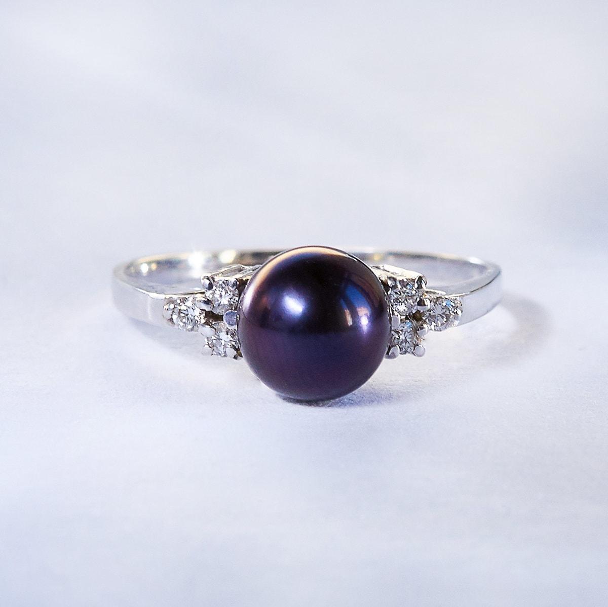 klenota silberring mit schwarzer perle und diamanten. Black Bedroom Furniture Sets. Home Design Ideas