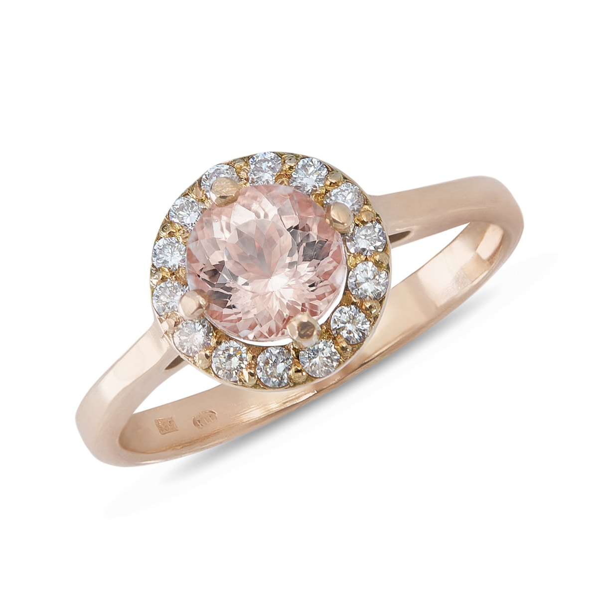 Morganite And Diamond Ring In Rose Gold  Engagement Halo Rings