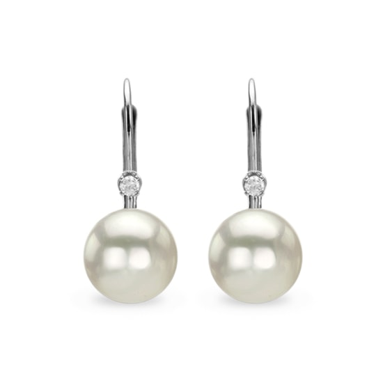 klenota perlenohrringe mit diamanten wei gold perlen ohrringe. Black Bedroom Furniture Sets. Home Design Ideas