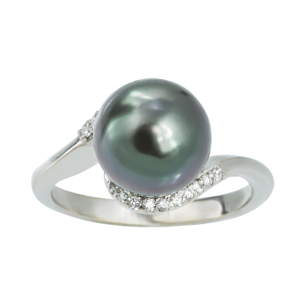 klenota silberring mit tahiti perle und diamanten. Black Bedroom Furniture Sets. Home Design Ideas