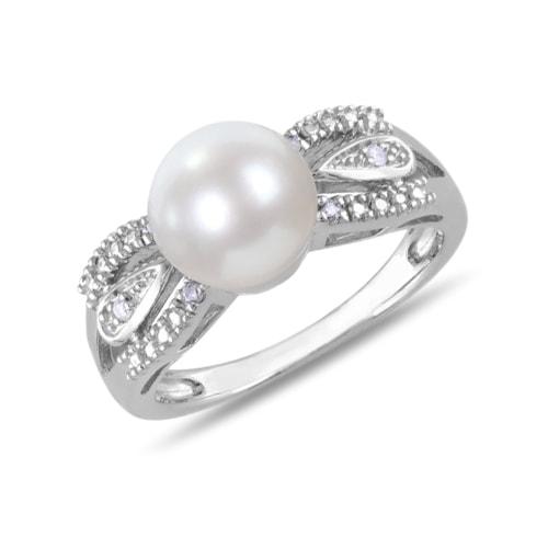 klenota silberring mit perle und diamanten miadora. Black Bedroom Furniture Sets. Home Design Ideas