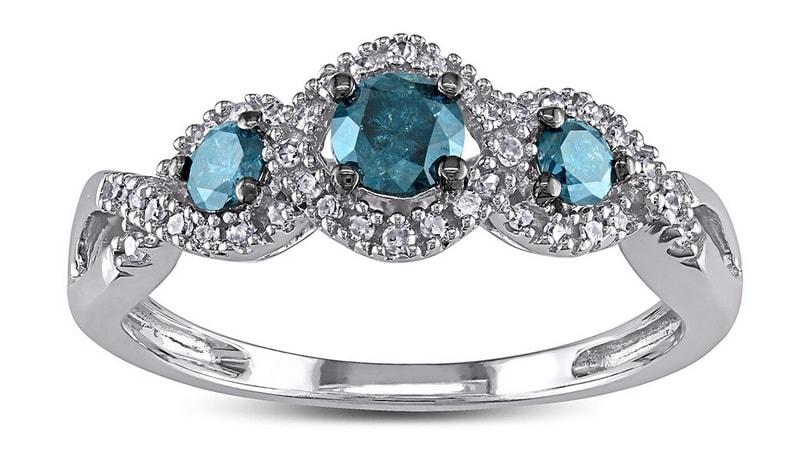 klenota wei goldring mit blauen und wei en diamanten ringe diamant. Black Bedroom Furniture Sets. Home Design Ideas